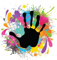 Hand print and paint vector