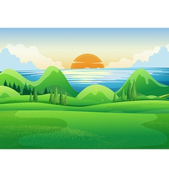 Green field at sunset vector