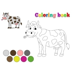 Coloring book cow kids layout for game vector