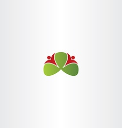 Healthy people around green leaves logo icon vector
