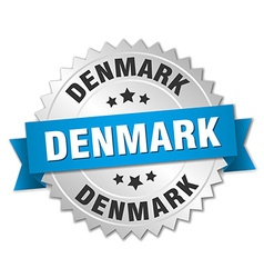 Denmark round silver badge with blue ribbon vector