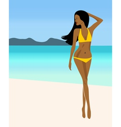 A girl in a yellow bikini vector