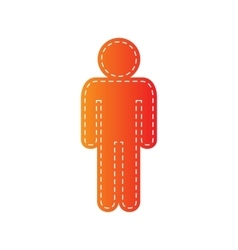 Man sign  orange applique isolated vector