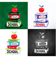 apple on books with back to school lettering vector image