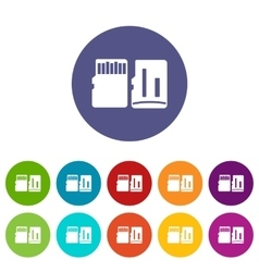 Both sides of SD memory card set icons vector image