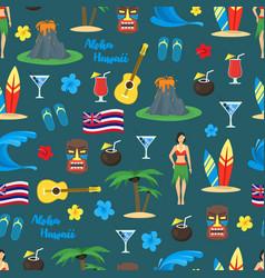 cartoon symbol of hawaii seamless pattern vector image vector image