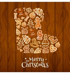 Christmas sock symbol composed of gingerbread vector