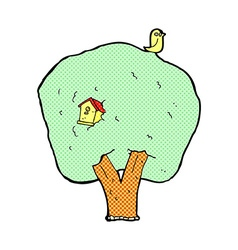 Comic cartoon tree with birdhouse vector