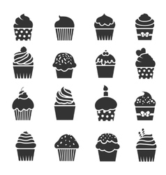 Cupcake icons Dessert baking black and white vector image vector image