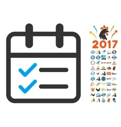 Day tasks flat icon with 2017 year bonus vector