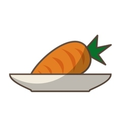 Dish with carrot fresh vegetable isolated icon vector