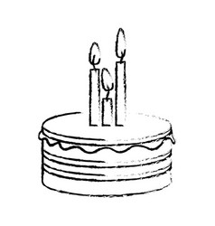 figure party cake with canddles icon vector image