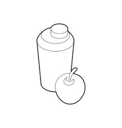 Glass of water and apple icon outline style vector