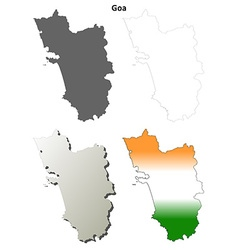 Goa blank detailed outline map set vector