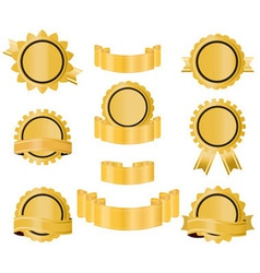 golden seal ribbon vector image vector image