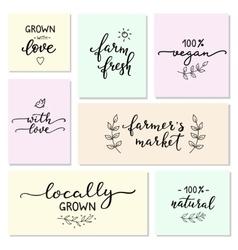 Hand written organic farm messages set vector