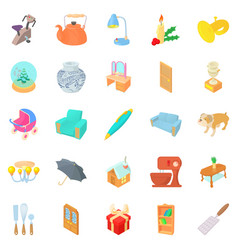 Home furniture icons set cartoon style vector