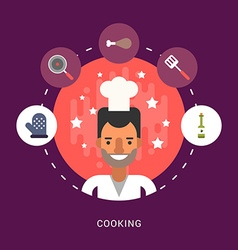 in Flat Design Style Food and Cooking Icons and vector image vector image