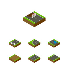 Isometric way set of repairs plash plane and vector