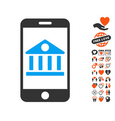 mobile bank icon with valentine bonus vector image vector image