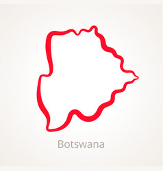 outline map of botswana marked with red line vector image