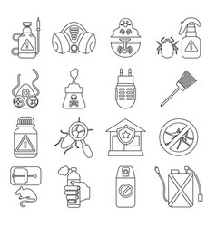 Pest control tools icons set outline style vector