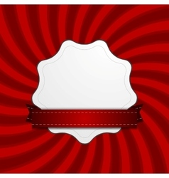 Red retro swirl beams and blank label vector