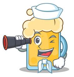 sailor beer character cartoon style vector image
