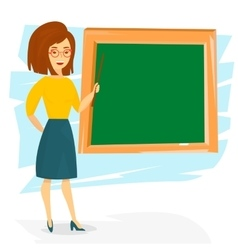 School teacher teaching with a pointer vector image vector image
