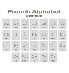 Set of monochrome icons with french alphabet vector