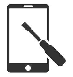 Smartphone tuning screwdriver flat icon vector