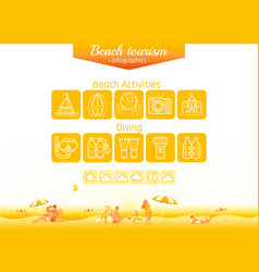 Summer beach travel icon set infographics poster vector