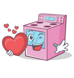 With heart gas stove character cartoon vector
