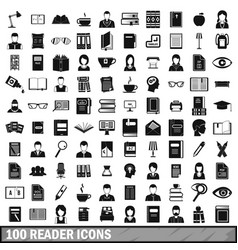 100 reader icons set simple style vector