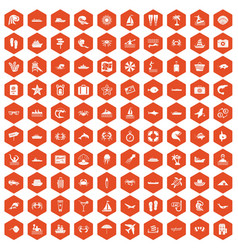 100 sea life icons hexagon orange vector