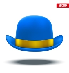 Blue bowler hat on a white background vector