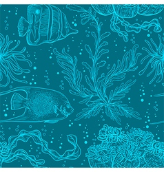 Pattern with marine plants coral seaweed vector
