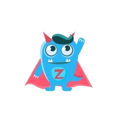 Superhero blue monster with horns and spiky tail vector