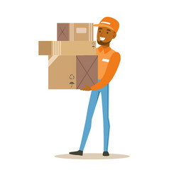 Delivery service worker in orange cap holding pile vector