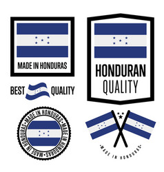 Honduras quality label set for goods vector