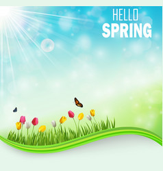 Springtime meadow background with tulip flowers vector