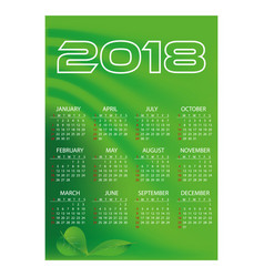 2018 simple business wall calendar green color vector image