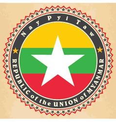 Vintage label cards of myanmar flag vector