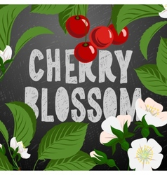 Floral background with cherry berries and cherry vector