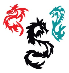Dragons pattern tribal tattoo vector