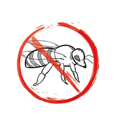 Warning sign of the bee vector