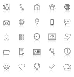 Contact line icons with reflect on white vector