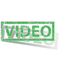 Green outlined video stamp vector