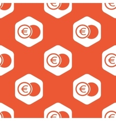 Orange hexagon euro coin pattern vector