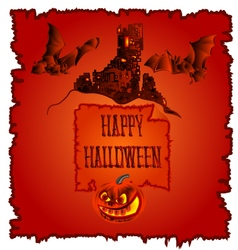 Happy halloween haunted castle with pumpkins vector
